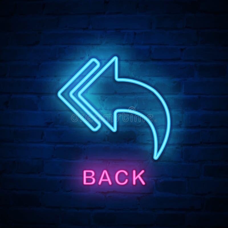Φωτισμένο διάνυσμα επιστροφής πίσω βέλος σημαδιών εικονιδίων νέου ελαφρύ απεικόνιση αποθεμάτων