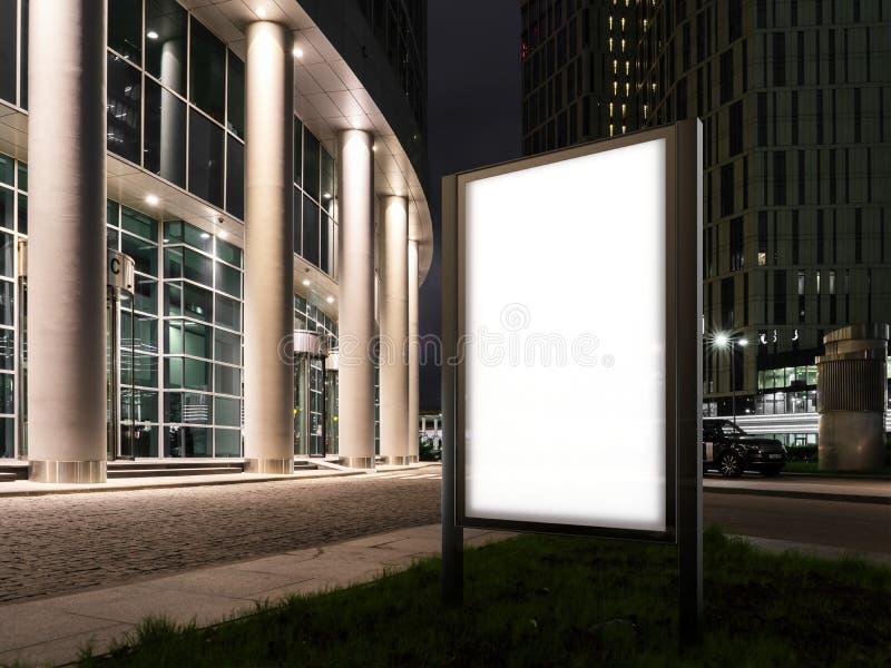 Φωτισμένο κενό έμβλημα στο λυκόφως δίπλα στο εμπορικό κέντρο τρισδιάστατη απόδοση απεικόνιση αποθεμάτων