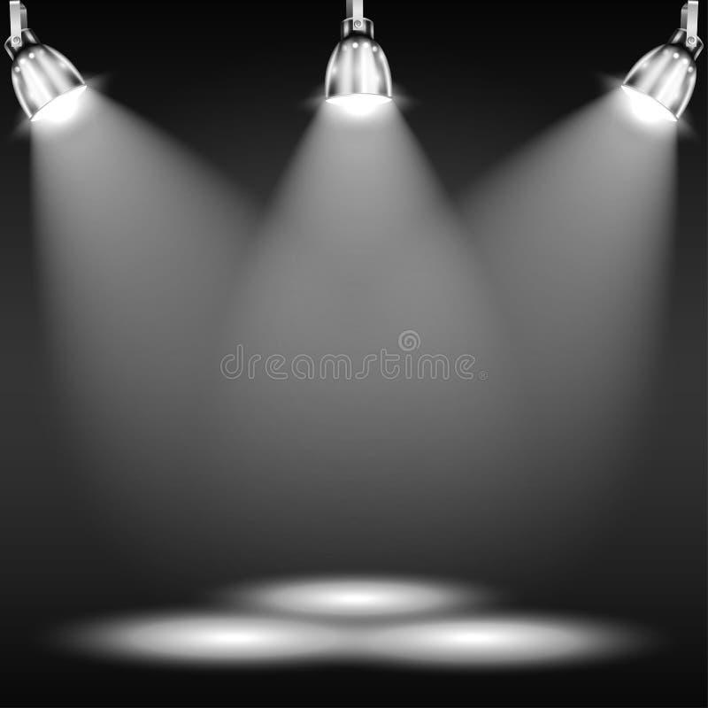 Φωτισμένο πάτωμα στο σκοτεινό δωμάτιο ελεύθερη απεικόνιση δικαιώματος