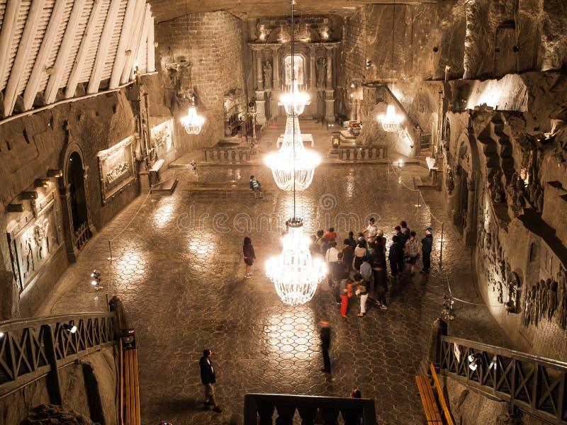 Φωτισμένο παρεκκλησι Αγίου Kinga στο αλατισμένο ορυχείο Wieliczka κοντά στην Κρακοβία, Πολωνία, Ευρώπη στοκ φωτογραφία