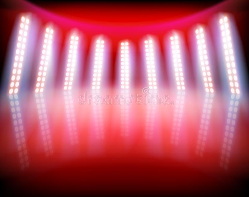 Φωτισμένο στάδιο στο τηλεοπτικό στούντιο επίσης corel σύρετε το διάνυσμα απεικόνισης διανυσματική απεικόνιση