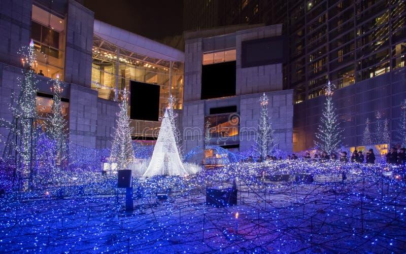 Φωτισμοί εποχής Χριστουγέννων και χειμώνα του Τόκιο σε Shiodome στοκ εικόνες