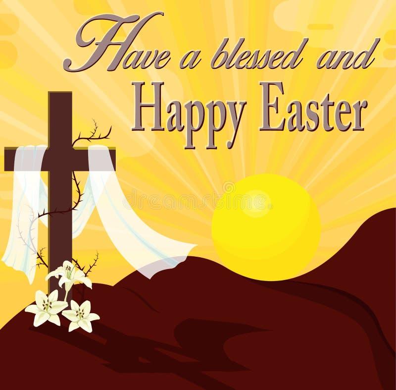 Φωτισμός ανατολής και σταυρός Πάσχας Σκιαγραφία του ξύλινου σταυρού με το σάβανο και τους κρίνους στοκ φωτογραφία