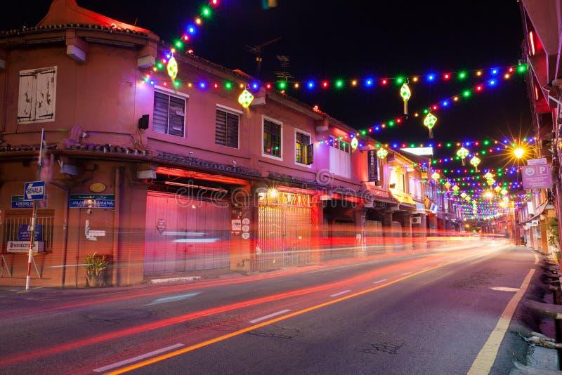 Φωτισμός διακοπών στην οδό Malacca στοκ εικόνα με δικαίωμα ελεύθερης χρήσης