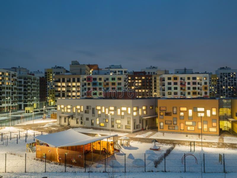 Φωτισμός νύχτας της κατοικήσιμης περιοχής Μόσχα Ρωσία στοκ φωτογραφία