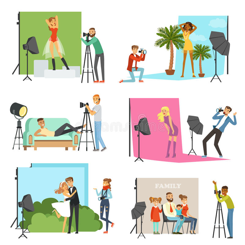 Φωτογράφοι που παίρνουν τις εικόνες των διαφορετικών ανθρώπων στο στούντιο φωτογραφιών με το επαγγελματικό φωτογραφικό διάνυσμα ε διανυσματική απεικόνιση