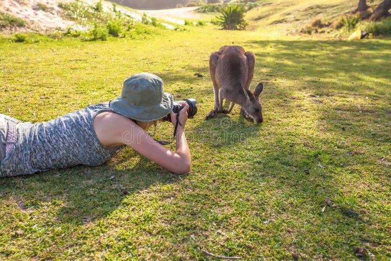 Φωτογράφος γυναικών άγριας φύσης στοκ φωτογραφίες