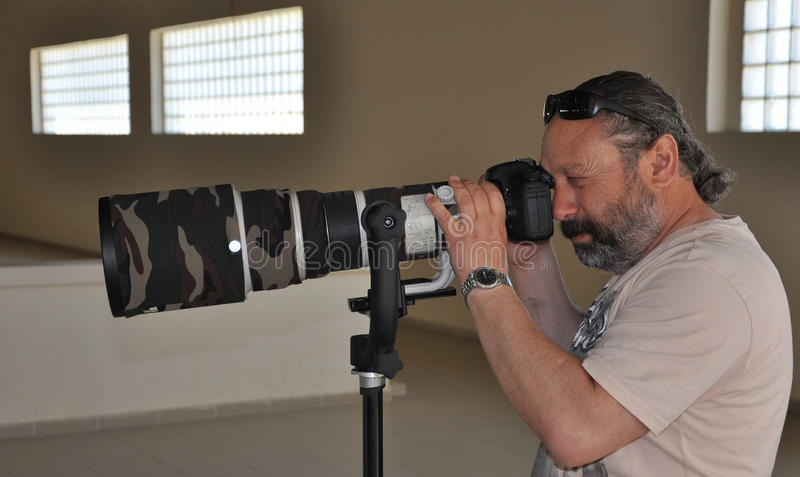 Φωτογράφος επαγγελματικών αθλημάτων στοκ φωτογραφία
