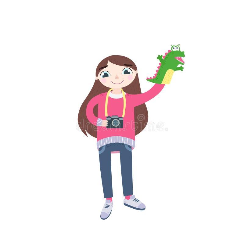 Φωτογράφος κοριτσιών σε ένα άσπρο υπόβαθρο διανυσματική απεικόνιση