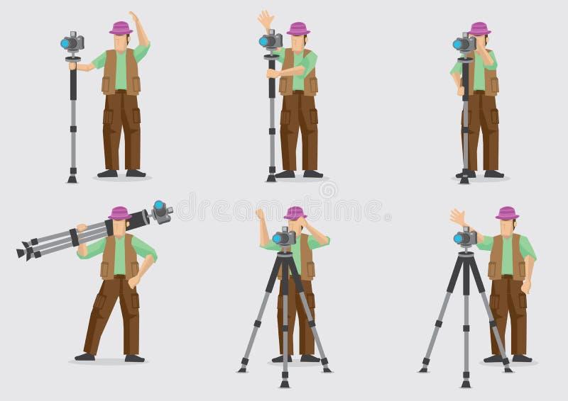 Φωτογράφος με το διανυσματικό χαρακτήρα Illustratio καμερών και τρίποδων απεικόνιση αποθεμάτων