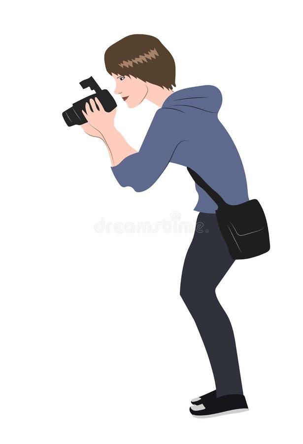 Φωτογράφος σε μια άσπρη ανασκόπηση ελεύθερη απεικόνιση δικαιώματος