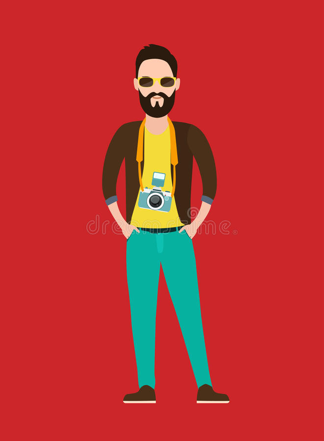 Φωτογράφος Hipster, επίπεδος χαρακτήρας δημοσιογράφων διανυσματική απεικόνιση