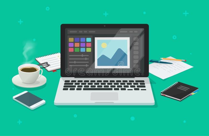 Φωτογραφία ή γραφικός συντάκτης στη διανυσματική απεικόνιση υπολογιστών, επίπεδη οθόνη lap-top κινούμενων σχεδίων με το σχέδιο ή  απεικόνιση αποθεμάτων