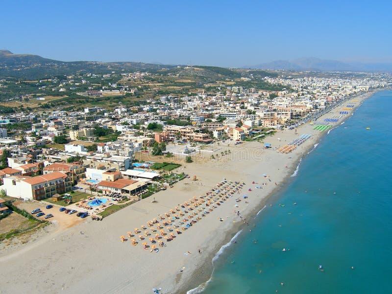 Φωτογραφία αέρα, παραλία Rethymno, Κρήτη, Ελλάδα στοκ φωτογραφία