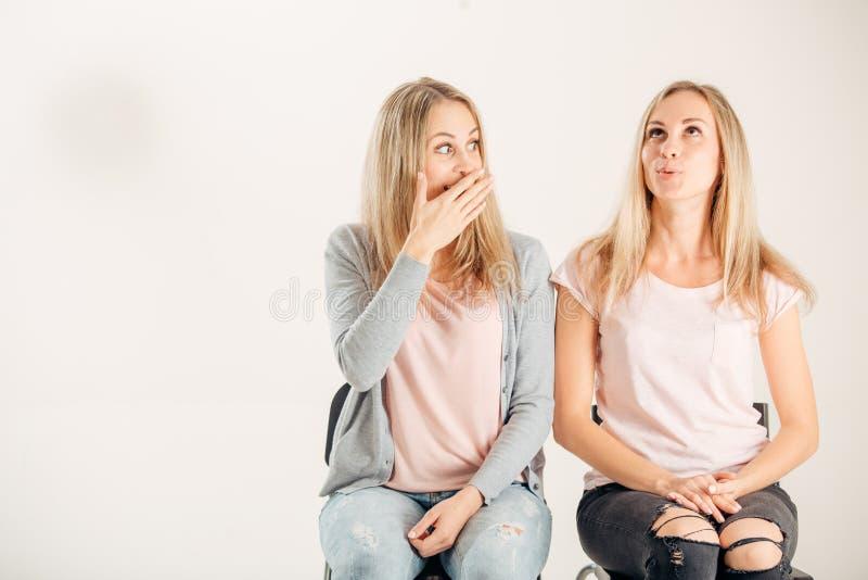 Φωτογραφία δύο όμορφων νέων κοριτσιών Πορτρέτο ομορφιάς των αδελφών διδύμων στοκ εικόνα