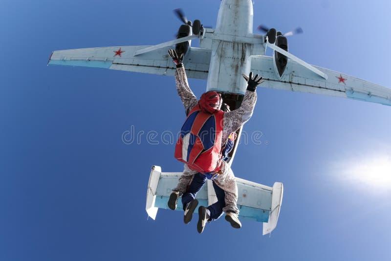 Φωτογραφία ελεύθερων πτώσεων με αλεξίπτωτο. Διαδοχικός. στοκ φωτογραφίες