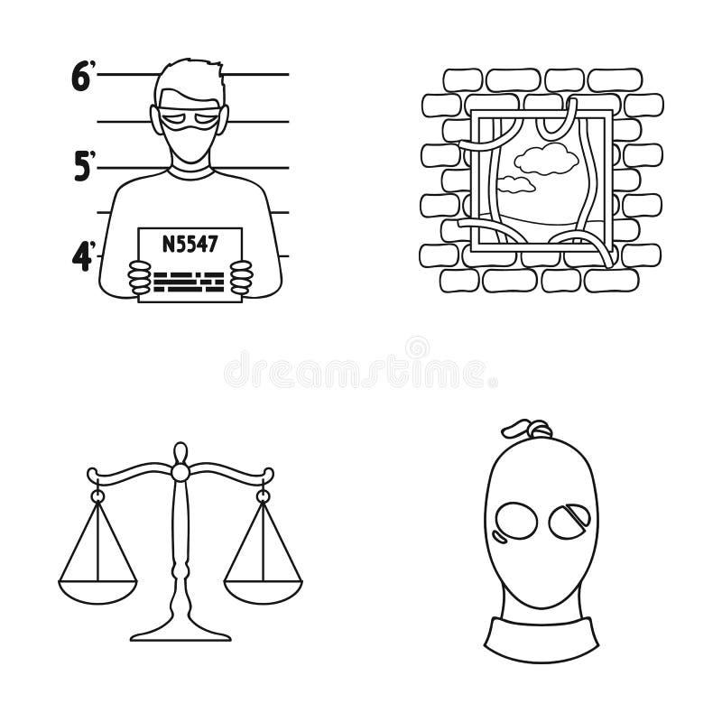 Φωτογραφία ενός εγκληματία, διαφυγή από τη φυλακή, κλίμακες της δικαιοσύνης, ένας κλέφτης σε μια μάσκα Καθορισμένα εικονίδια συλλ απεικόνιση αποθεμάτων
