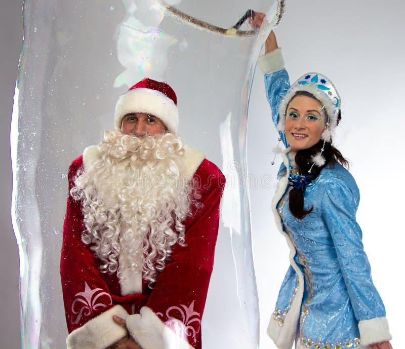 Φωτογραφία ευτυχούς Santa insede η φυσαλίδα σαπουνιών στοκ φωτογραφία με δικαίωμα ελεύθερης χρήσης