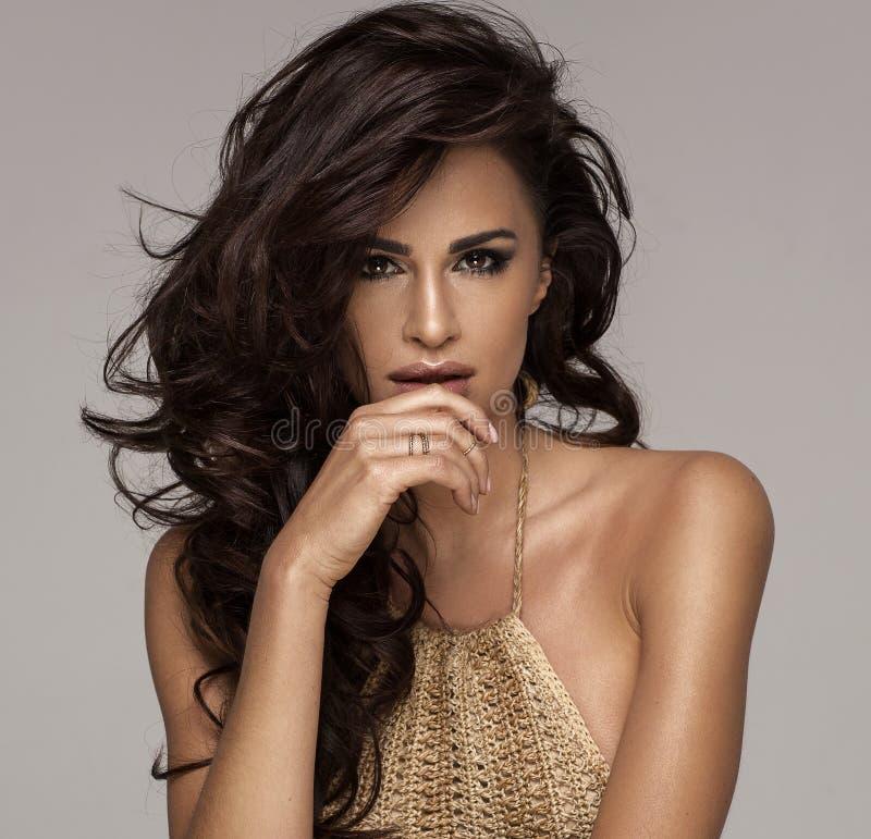 Φωτογραφία μόδας της ομορφιάς brunette με τη φυσική σύνθεση στοκ εικόνες