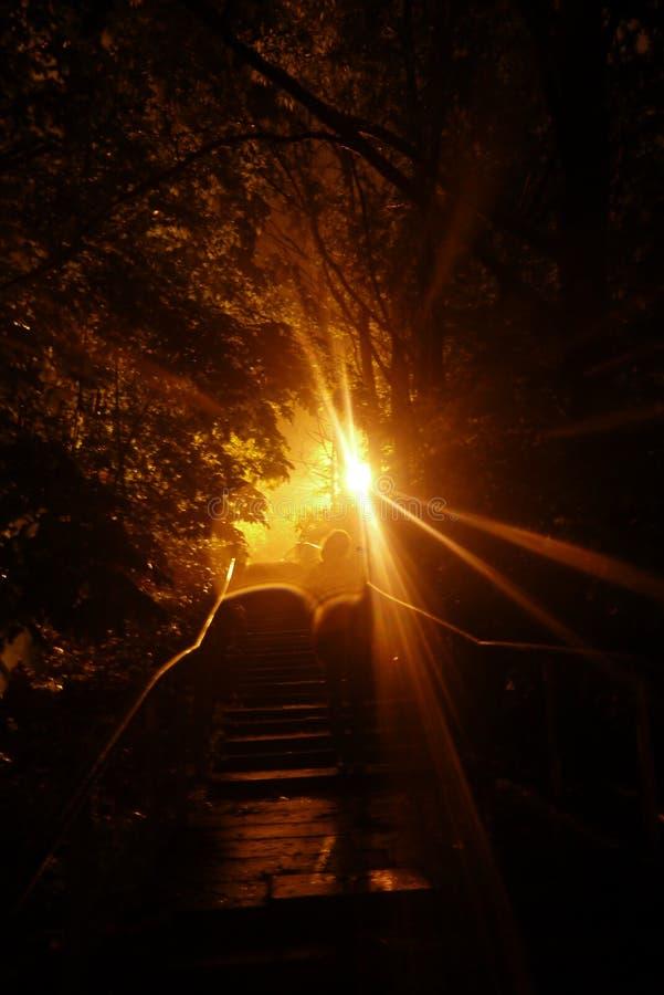 Φωτογραφία νύχτας με το άτομο στο φως στοκ φωτογραφία