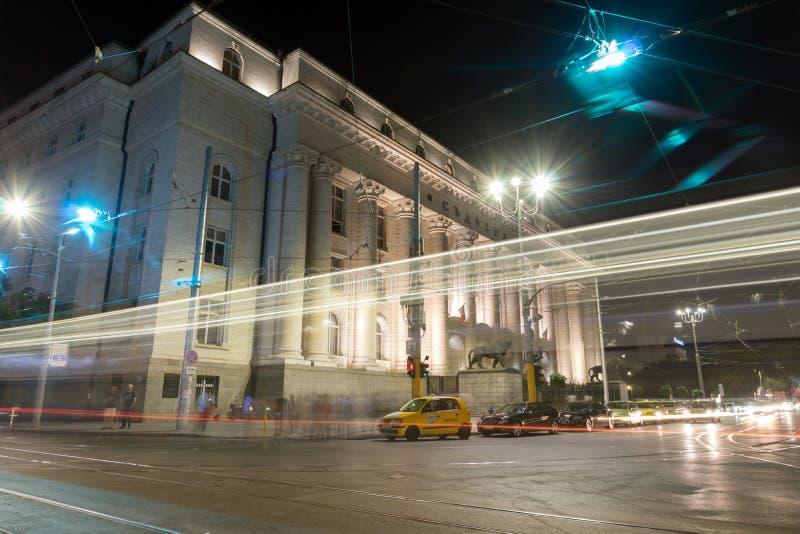 Φωτογραφία νύχτας του κτηρίου του παλατιού της δικαιοσύνης στη Sofia, Βουλγαρία στοκ εικόνες