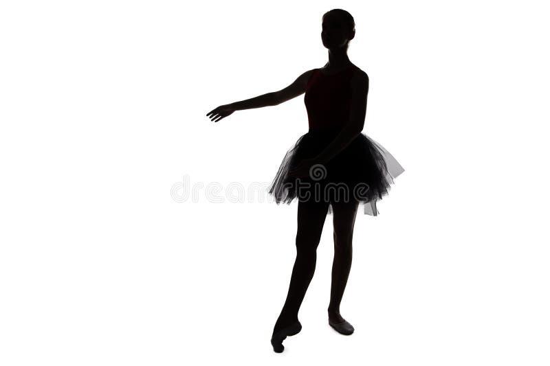 Φωτογραφία - σκιαγραφία του νέου ballerina χορού στοκ φωτογραφία με δικαίωμα ελεύθερης χρήσης