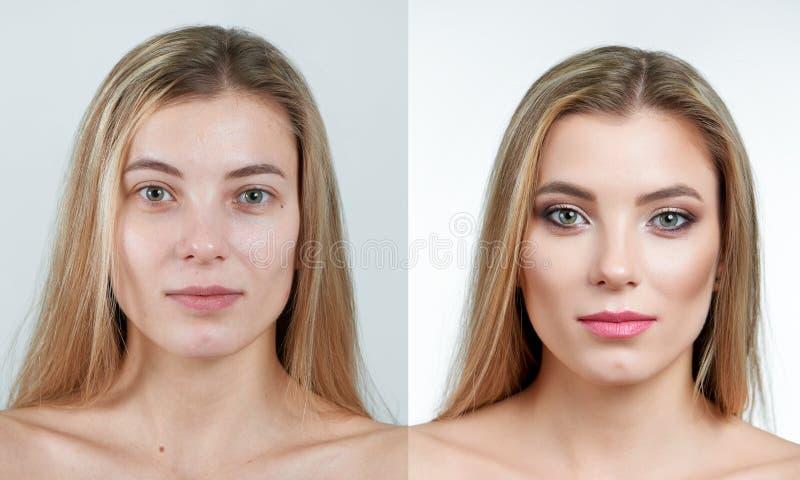Φωτογραφία σύγκρισης ενός όμορφου ξανθού κοριτσιού χωρίς και με makeup στοκ εικόνες με δικαίωμα ελεύθερης χρήσης
