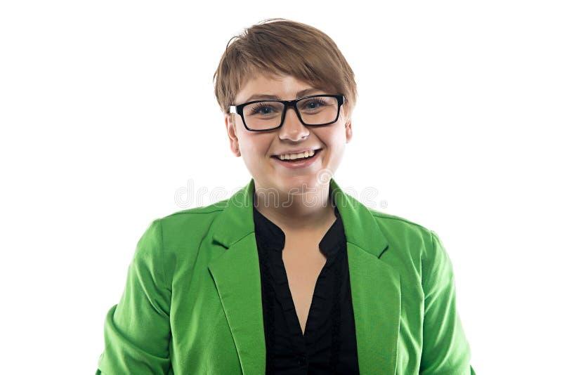 Φωτογραφία της ευτυχούς κοντόχοντρης επιχειρησιακής γυναίκας στοκ εικόνα με δικαίωμα ελεύθερης χρήσης