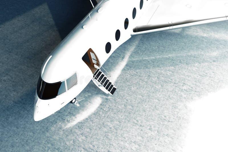 Φωτογραφία του άσπρου στιλπνού ιδιωτικού αεριωθούμενου χώρου στάθμευσης σχεδίου πολυτέλειας γενικού στον αερολιμένα υπόστεγων τσι διανυσματική απεικόνιση