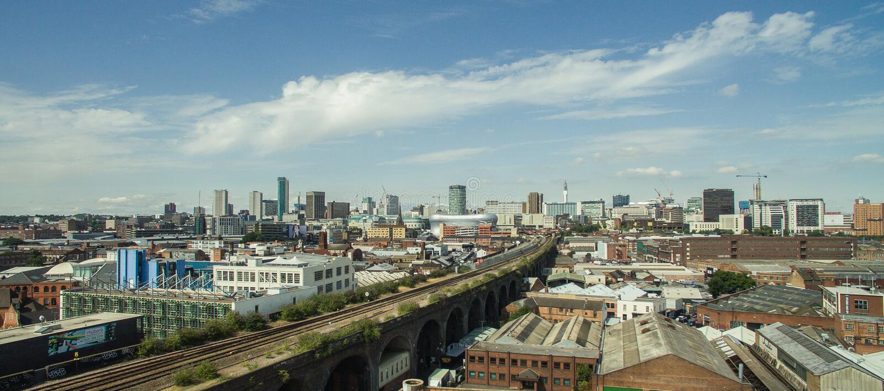 Φωτογραφία του Μπέρμιγχαμ, Ηνωμένο Βασίλειο κάνω από τον κηφήνα στοκ εικόνα
