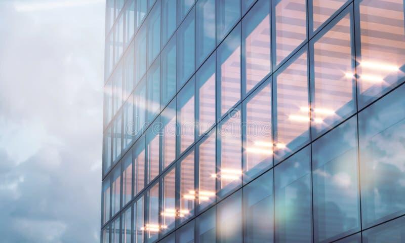 Φωτογραφία του πύργου ουρανοξυστών Σύγχρονο εσωτερικό γραφείων στο χρόνο βραδιού Πανοραμικό υπόβαθρο προσόψεων παραθύρων, σύγχρον στοκ φωτογραφίες με δικαίωμα ελεύθερης χρήσης
