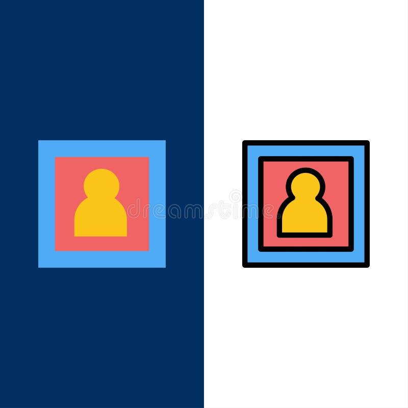 Φωτογραφία, φωτογράφος, φωτογραφία, εικονίδια πορτρέτου Επίπεδος και γραμμή γέμισε το καθορισμένο διανυσματικό μπλε υπόβαθρο εικο απεικόνιση αποθεμάτων