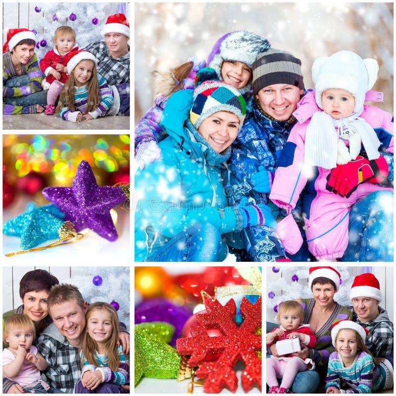 Φωτογραφία Χριστουγέννων με μια ευτυχή οικογένεια στοκ εικόνες