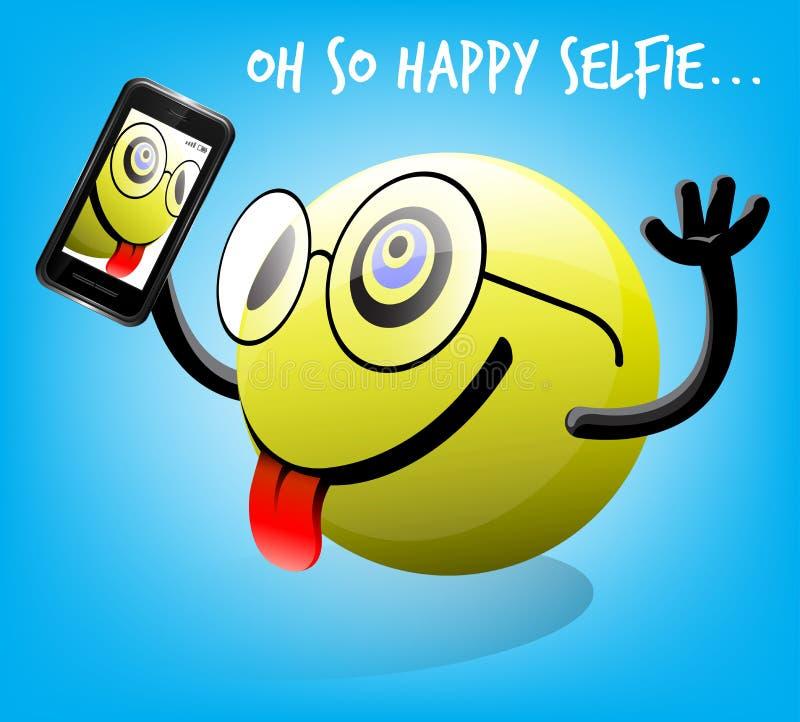 Φωτογραφία Selfie του ευτυχούς χαρακτήρα emoticon με το κινητό έξυπνο τηλέφωνο απεικόνιση αποθεμάτων