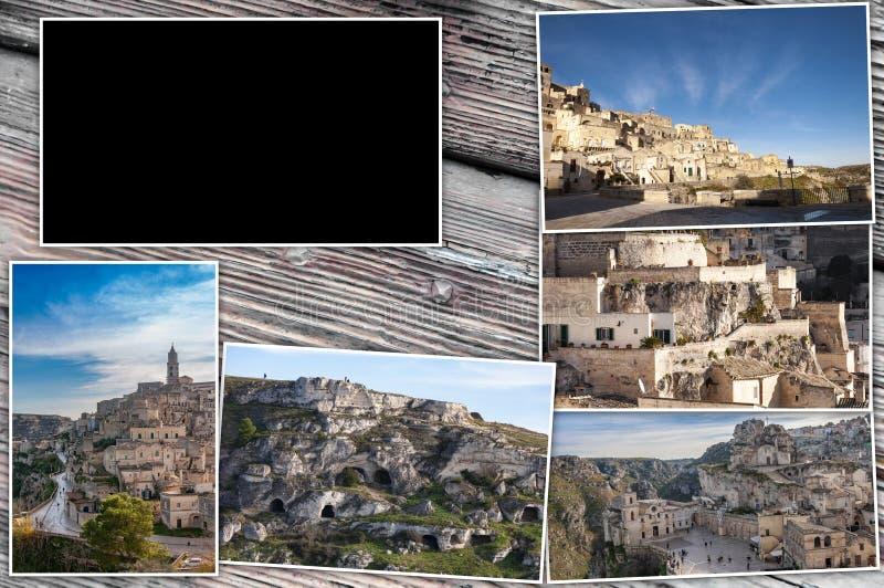 Φωτογραφίες κολάζ $matera, Ιταλία Ξύλινο υπόβαθρο, με 16: ορθογώνιο 9 για να παρεμβάλει τα βίντεο, τις εικόνες και το κείμενο, κα στοκ φωτογραφία