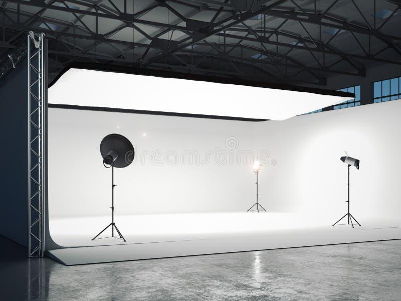 Φωτογραφικό στούντιο με διάφορες πηγές φωτός τρισδιάστατη απόδοση διανυσματική απεικόνιση