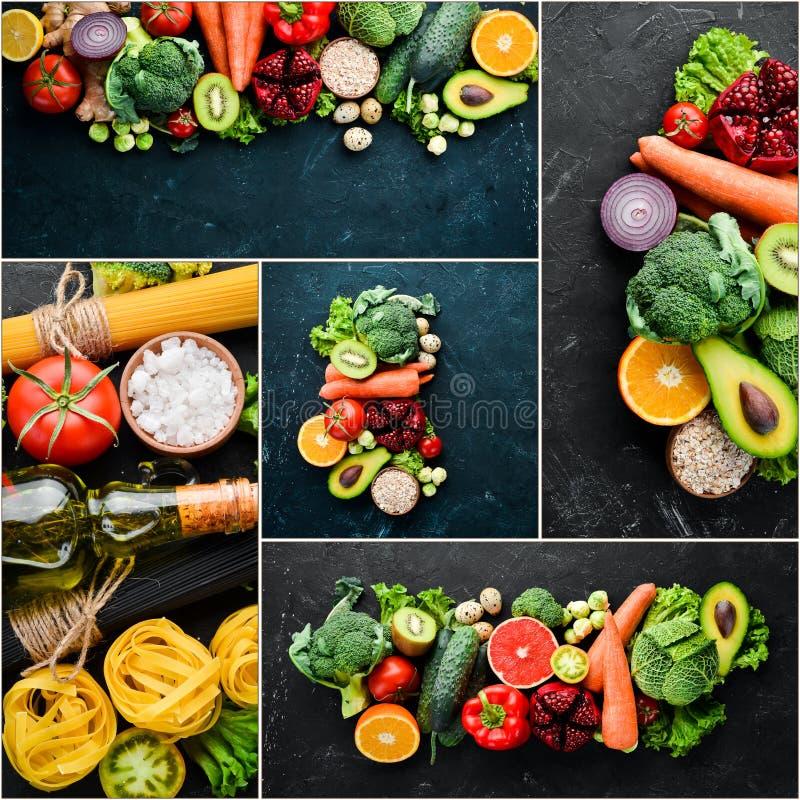 Φωτογραφιών λαχανικά και φρούτα κολάζ φρέσκα στοκ εικόνα με δικαίωμα ελεύθερης χρήσης