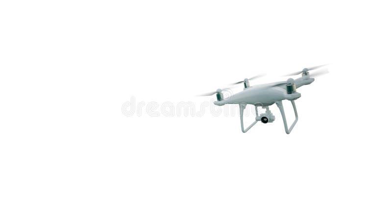 Φωτογραφιών μεταλλινών γενικός κηφήνας αέρα τηλεχειρισμού σχεδίου σύγχρονος που πετά με τη κάμερα δράσης Απομονωμένος στο κενό άσ απεικόνιση αποθεμάτων