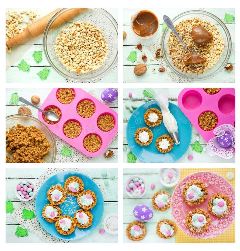 Φωλιές μπισκότων Πάσχας με την κτυπημένη κρέμα και τη μίνι συνταγή καραμελών αυγών στοκ εικόνες
