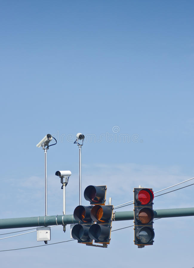 Φω'τα και φωτογραφικές μηχανές Traffice στοκ εικόνες