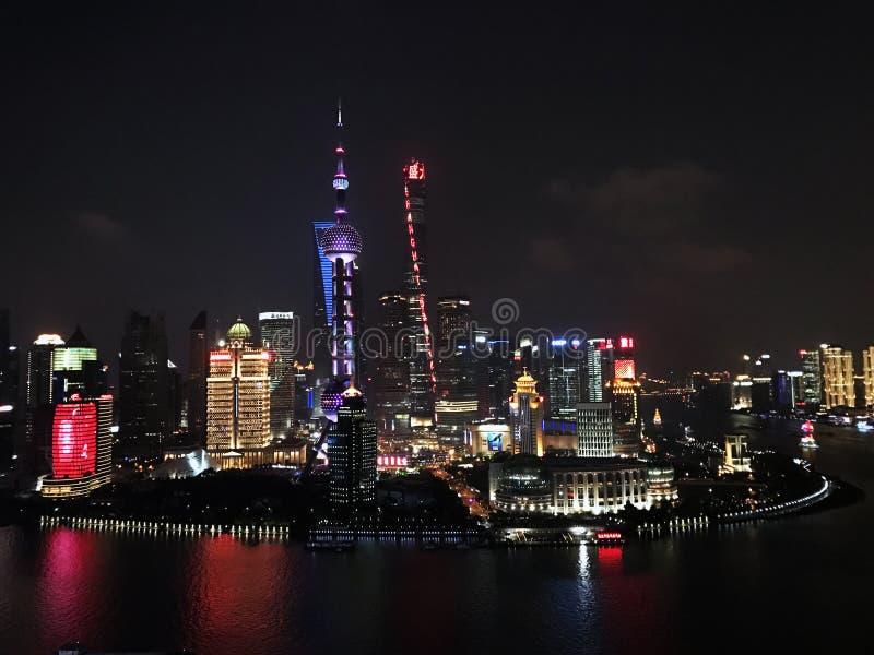 Φω'τα πόλεων της Σαγκάη στοκ εικόνες