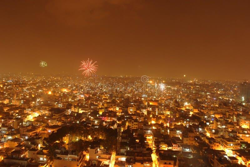 Φω'τα πόλεων τοπίων φω'τα deepawali diwali μετρό στοκ εικόνες με δικαίωμα ελεύθερης χρήσης