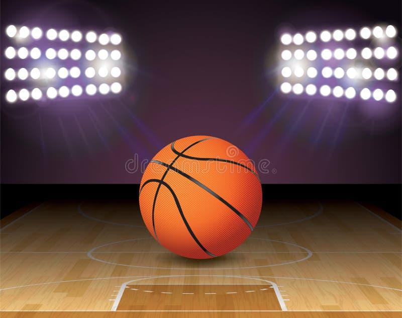 Φω'τα σφαιρών γήπεδο μπάσκετ και απεικόνιση στεφανών διανυσματική απεικόνιση