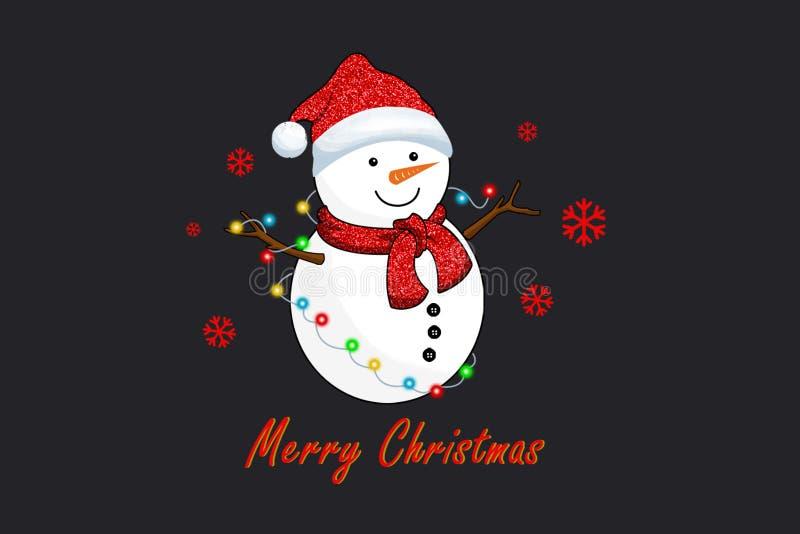 Φω'τα χιονανθρώπων και Χριστουγέννων στοκ εικόνες με δικαίωμα ελεύθερης χρήσης