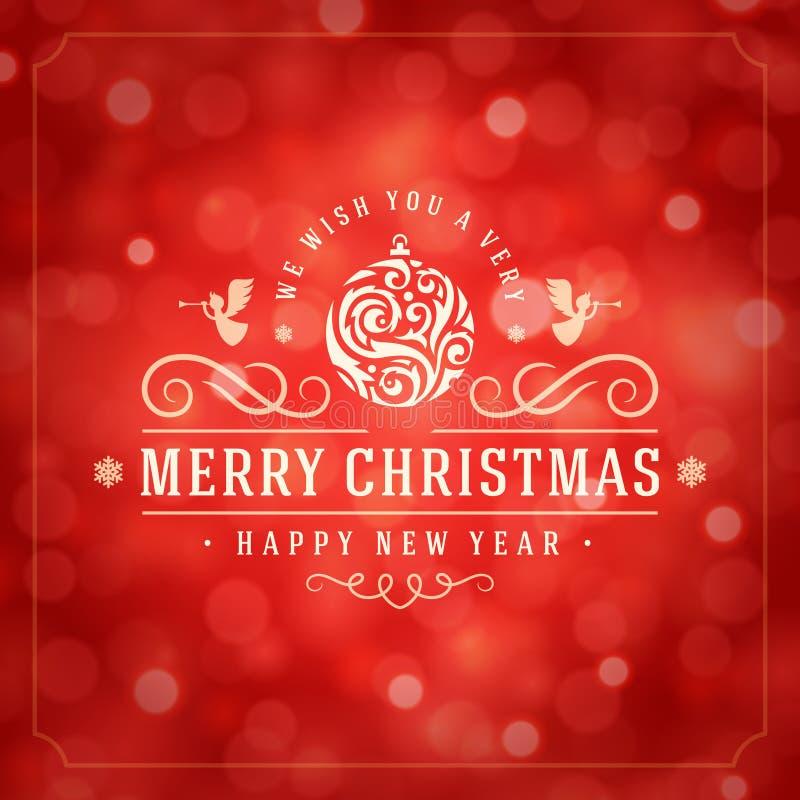 Φω'τα Χριστουγέννων και σχέδιο ετικετών τυπογραφίας διανυσματική απεικόνιση