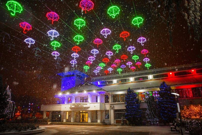Φω'τα Χριστουγέννων πόλεων στη νύχτα - Otopeni Ρουμανία στοκ εικόνες με δικαίωμα ελεύθερης χρήσης