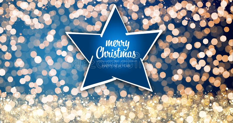 Φω'τα Χριστουγέννων σπινθηρίσματος τα χρυσά και ασημένια με τη Χαρούμενα Χριστούγεννα και το αστέρι μηνυμάτων χαιρετισμού καλής χ στοκ φωτογραφίες