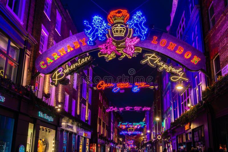 Φω'τα Χριστουγέννων στην οδό Carnaby, Λονδίνο UK στοκ φωτογραφία