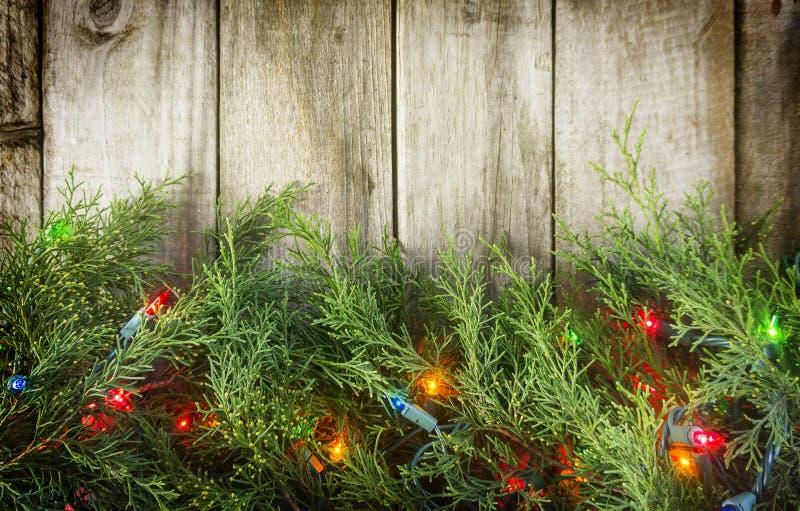 Φω'τα Χριστουγέννων στο ξύλο στοκ φωτογραφία