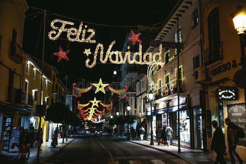 Φω'τα Χριστουγέννων Navidad Feliz στη Ronda, Ανδαλουσία στοκ εικόνες
